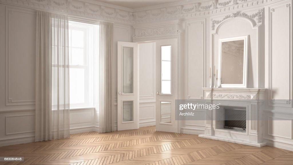 Chambre Vide Classique Avec Grande Fenêtre, Sol En Parquet En Bois Cheminée  Et Chevrons,