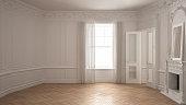 Classic empty room with big window, fireplace and herringbone wooden parquet floor, vintage white interior design