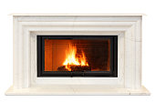 classic fireplace of white Italian marble. Isolated on white