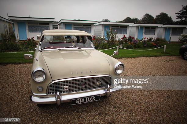 A classic Ford Consul parks up outside chalets for Hemsby Rock 'n' Roll weekend on October 8 2010 in Hemsby England Twice a year fans of Rock and...