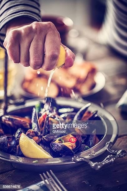 ムール貝のクラシックなフランス料理