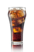 High resolution, digital studio shot of an ice-cold, freshly poured glass of cola in a classic cola glass with ice cubes. Sharply focused, aspirational style shot, showing condensation and a thin laye