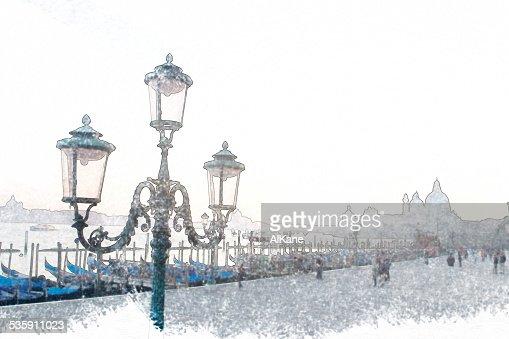 Clássico lamppost em Veneza : Foto de stock