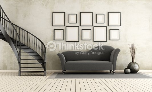 klassische wohnzimmer mit wendeltreppe stock foto thinkstock. Black Bedroom Furniture Sets. Home Design Ideas