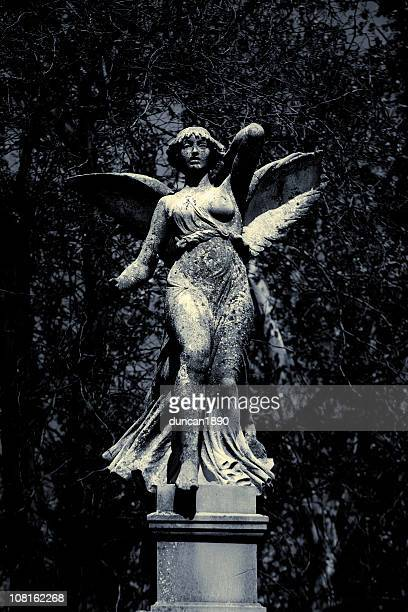 Classic Marble Statue of Angel in Garden, Black and White
