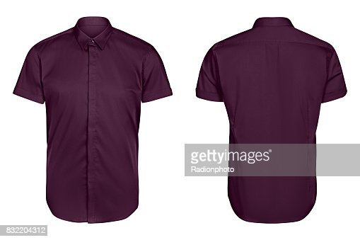 classic mens violet shirt short sleeve   isolated white background : Stock Photo