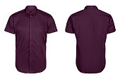 classic mens violet shirt short sleeve   isolated  on white background