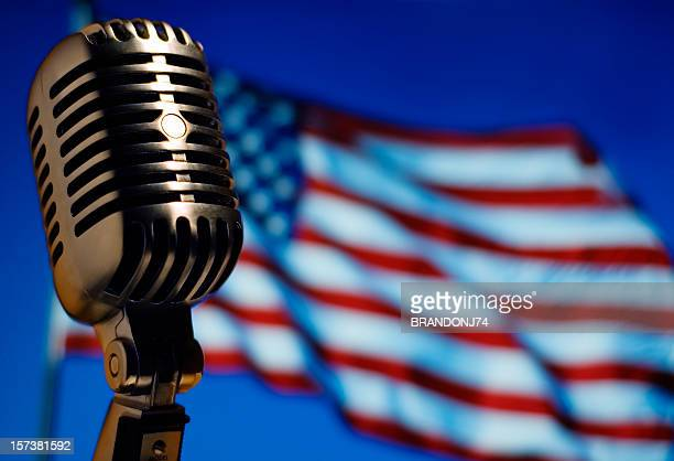 Classic Microphone with American Flag