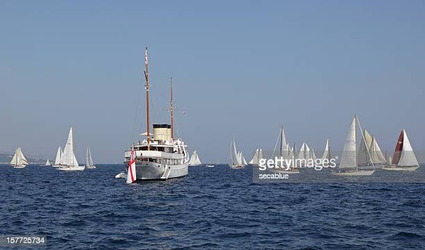 Classic Motor Yacht and sailing boats