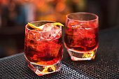 Classic Negroni cocktail on the black bar table
