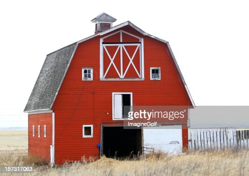 Classic Old Red Barn on the Great Plains in Winter