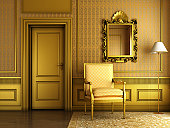 3d render of Interior scene of luxury palace living-room with lots of golden molding and furniture