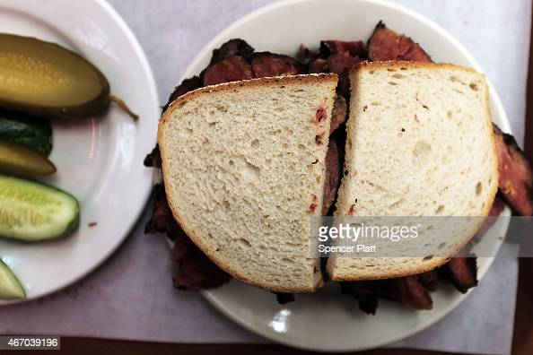 classic pastrami sandwich is viewed at Katz's Delicatessen on March ...
