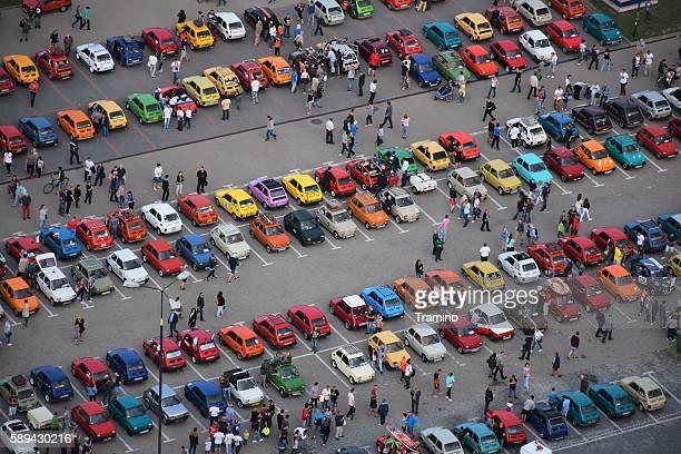 Classic Polski Fiat 126p vehicles on the parking
