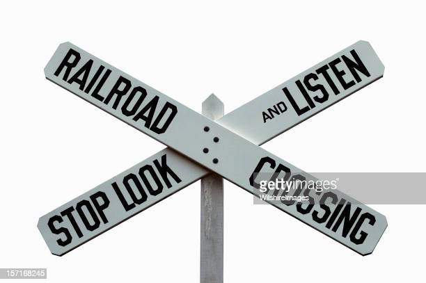 Classic Railroad Crossing STOP, LOOK, and LISTEN Caution Warning Sign