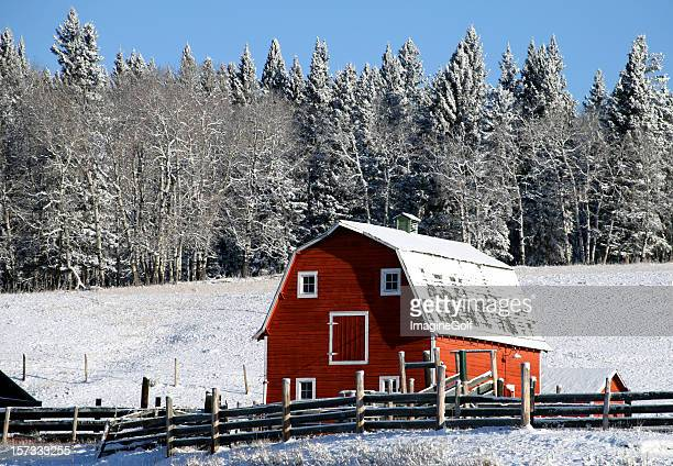 Classic Red Barn in Winter on the Great Plains