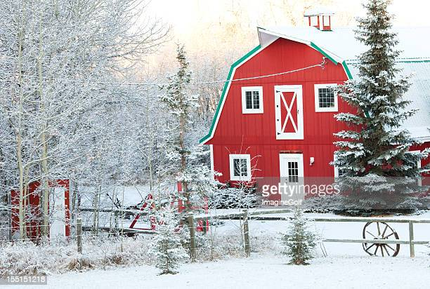 Classic Red Barn in Winter
