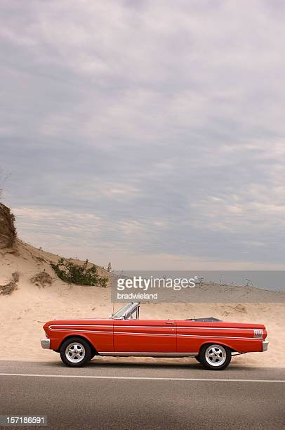 Classic red convertible in the desert - scenic