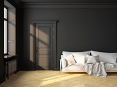 Classic scandinavian interior design black with sofa and pillows. 3D render illustration mock up.