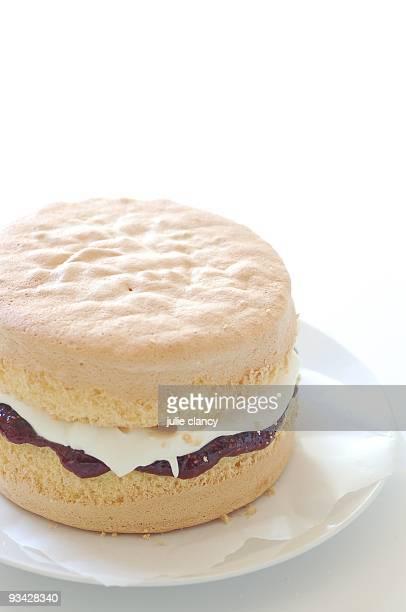 Classic sponge cake with jam (jelly) & cream