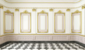 3d scene of a classic style room with golden moldings and marble floor