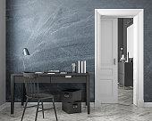 Classic style work place interior mock up with chalkboard wall, table, chair, door, white parquet floor. 3D render illustration.