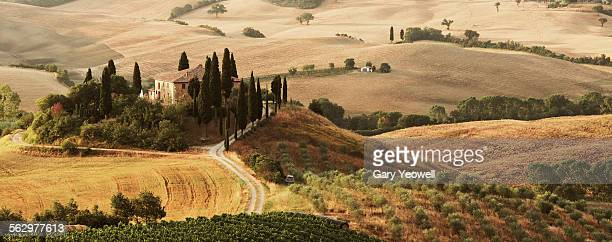 Classic Tuscany landscape with farmhouse
