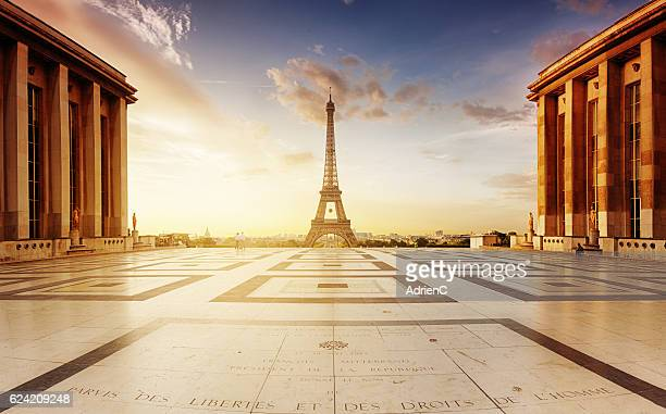 classic view during sunrise on Eiffel Tower on Trocadero's place.