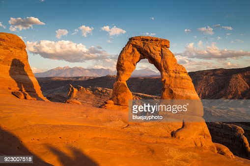Classic view of famous Delicate Arch at sunset, Utah, USA : Stock Photo