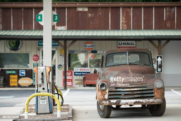 Classic Vintage Truck getting Gas