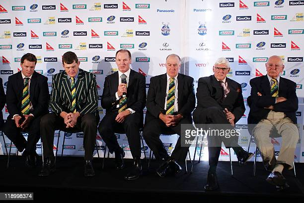 Classic Wallaby Statesmen Elton Flatley Tim Gavin Simon Poidevin Geoff Shaw Terry Curley and Eric Tweedale appear on stage during the 2011 ARU...