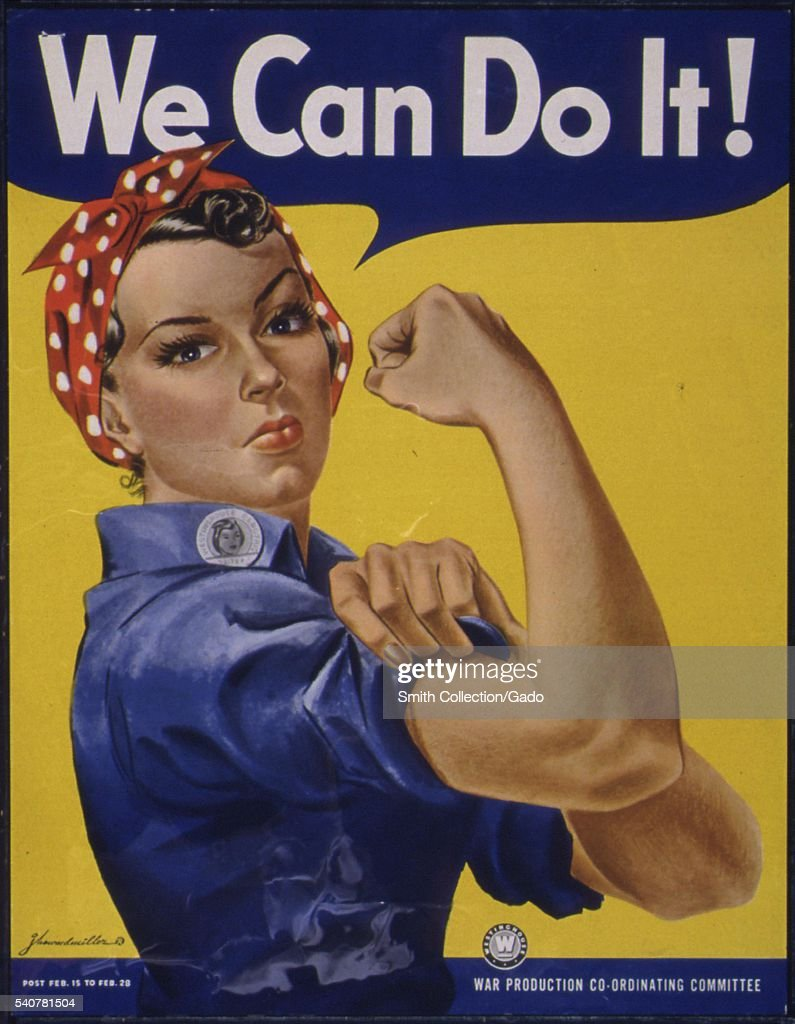 Classic wartime poster featuring Rosie the Riveter, with the caption We Can Do It!, 1942 Image courtesy National Archives. (Photo by Smith Collection/Gado/Getty Images).