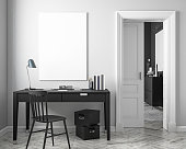 Classic white work place interior mock up with table, chair, door, white parquet floor. 3D render illustration.