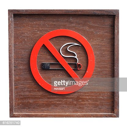 Classic Wooden no smoking sign on white background : Stock Photo