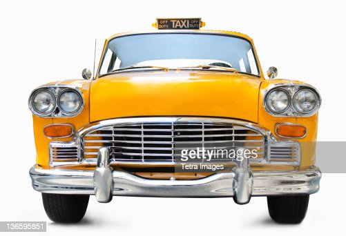 Classic Yellow Cab On White Background Stock Photo  Getty