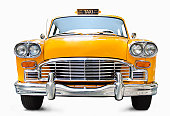Classic yellow cab on white background