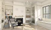 Classical Designed living room interior scene. ( 3d render )