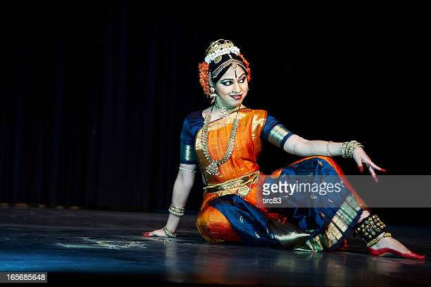 Classical Indian Kuchipudi Dancer giving stage performance