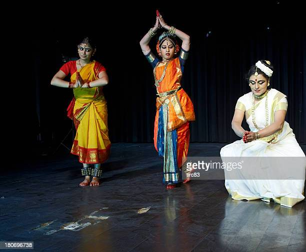Classical Indian Kuchipudi Dancers giving stage performance