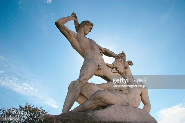Classical Mythologi Theseus slaying Minotaur Statue 19th century AD The Garden of the Tulleria Paris France Europe