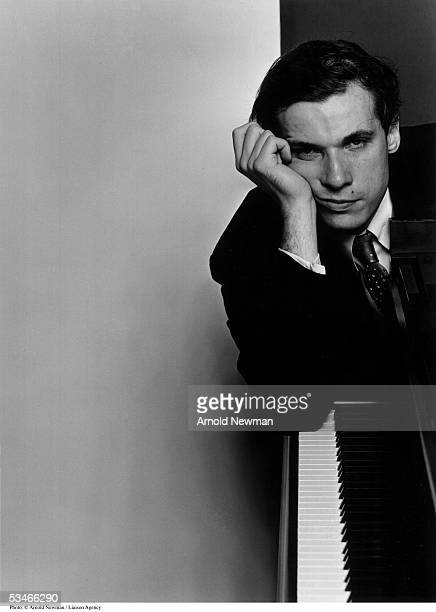 Classical pianist Glenn Gould poses for portrait with his piano October 10 1959 in New York City