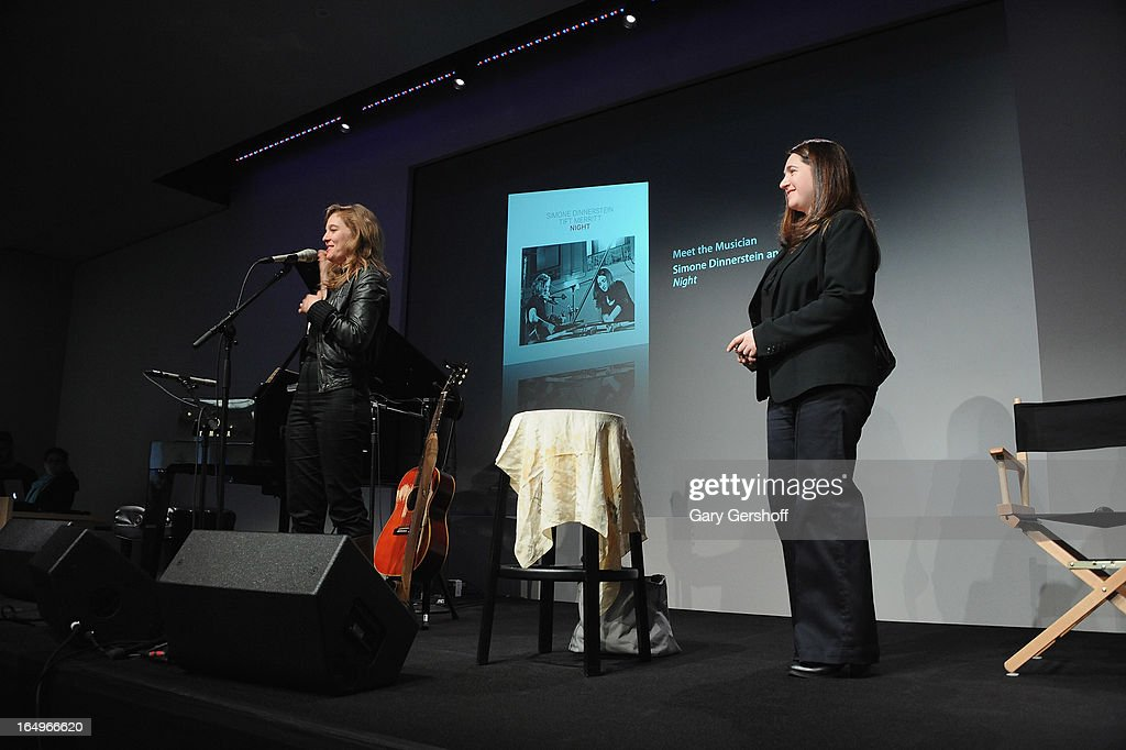 Classical pianist Simone Dinnerstein (R) and singer-songwriter <a gi-track='captionPersonalityLinkClicked' href=/galleries/search?phrase=Tift+Merritt&family=editorial&specificpeople=4950355 ng-click='$event.stopPropagation()'>Tift Merritt</a> perform live at Meet the Musicians at the Apple Store Soho on March 29, 2013 in New York City.