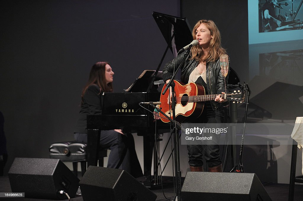 Classical pianist Simone Dinnerstein (L) and singer-songwriter Tift Merritt perform live at Meet the Musicians at the Apple Store Soho on March 29, 2013 in New York City.