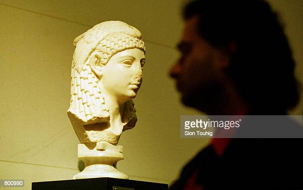 Classical sculpture of Cleopatra of Egypt which forms part of the exhibition entitled 'Cleopatra From History to Myth' is displayed April 12 2001 at...
