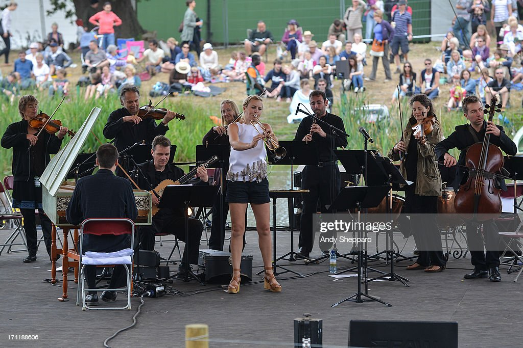 Classical trumpeter Alison Balsom performs on stage with the English Concert on Day 4 of Latitude Festival 2013 at Henham Park Estate on July 21, 2013 in Southwold, England.