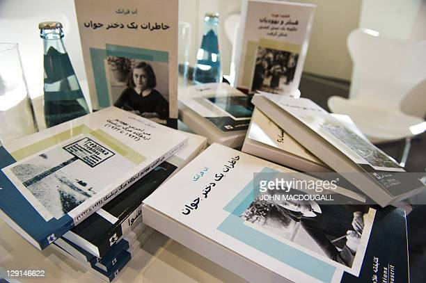 Classics of socalled 'Holocaust literature' translated into Arabic and Persian are displayed on a table prior to a presentation of Project Aladdin at...
