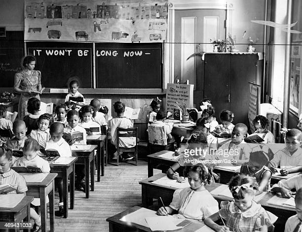 A classroom full of children at Mrs Merrial G Coston's first grade class at Frances Harper Elementary School No 111 shortly before the start of the...