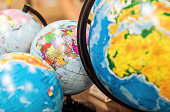Classroom globes in different sizes.