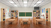 Classroom interior. 3D illustration.