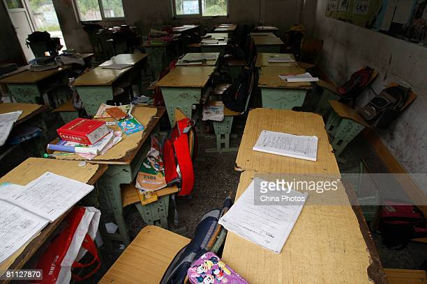A classroom of a collapsed elementary school is empty of students May 17 2008 in Dujiangyan of Sichuan Province China A major earthquake measuring 79...